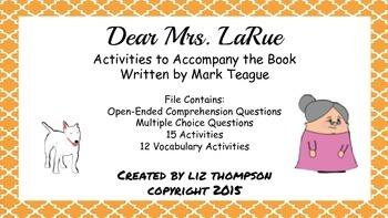 Dear Mrs. LaRue - Activities to Accompany the Book