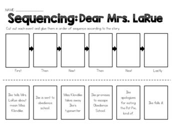 Dear Mrs. LaRue - Sequencing Worksheet