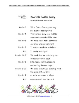Readers Theatre: Dear Old Easter Bunny