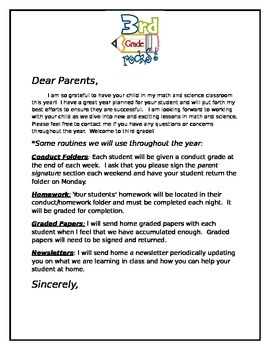 Dear Parents, Welcome to 3rd Grade letter