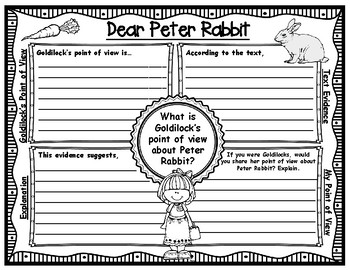 Dear Peter Rabbit Point of View Graphic Organizers