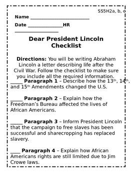 Dear President Lincoln Checklist