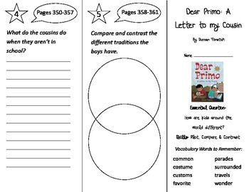 Dear Primo a Letter to my Cousin Trifold - Wonders 2nd Grade Unit 4 Week 3