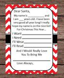 Dear Santa Gift Wish List Letter Merry Christmas I Want Need Wear Read Chevron