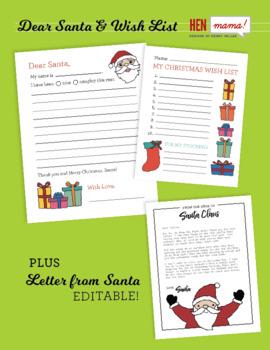 Dear Santa Letter Christmas Wish List Editable Letter From Santa Bundle