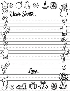 Dear Santa Letter Template By Jaclyn Daily Teachers Pay Teachers