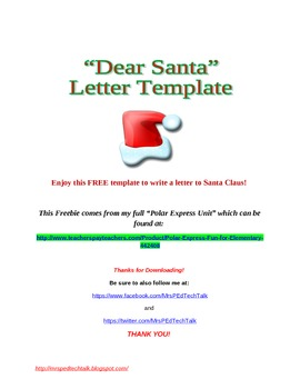 Dear Santa: Letter Template FREEBIE!