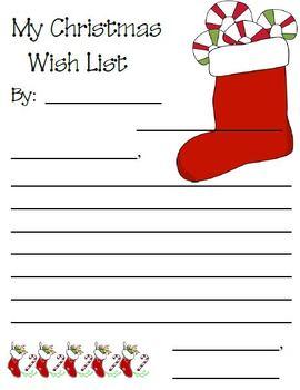 Dear Santa Letter- Wish list - Friendly Letter Writing Activity