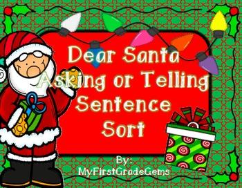 Dear Santa Sentence Sort- Asking or Telling