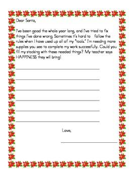 Dear Santa Supply Letter