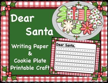 Dear Santa, Writing Paper & Cookie Plate Printable Craft