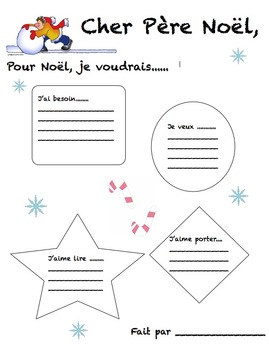 Dear Santa activity in French