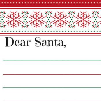 Dear Santa printable stationary for kids Christmas wish lists