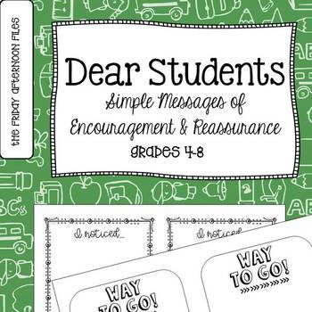 Dear Students: Notes of Encouragement