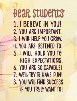 Dear Students Poster