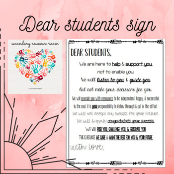 Dear Students sign