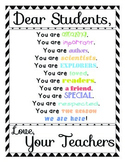 """Dear Students/Dear Teacher, You are..."" Motivational Poster Set Black Chevron"