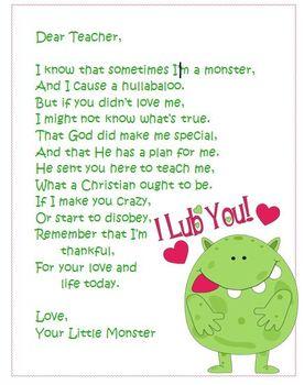 Dear Teacher,