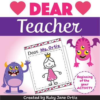 Dear Teacher - A Beginning of the Year Activity Freebie