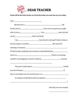 Beginning of the year- Dear Teacher Letter Writing Frame