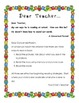 Dear Teacher: Literacy Letters for Parents of Emergent Readers