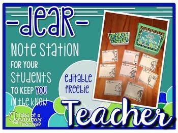 Dear Teacher: Student Note Station