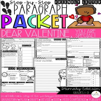 Dear Valentine, Friendly Letter Step-Up Paragraph Packet