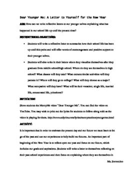 Dear Younger Me Letter Lesson
