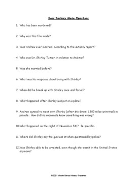 Dear Zachary Movie Questions