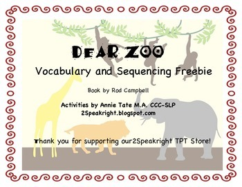 Dear Zoo Vocabulary and Sequencing