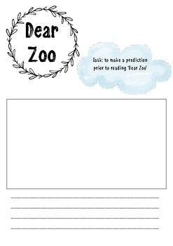 Dear Zoo printable resource - text prediction