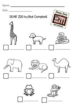 Dear zoo write the names