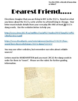 "Dearest Friend: A 1920s ""Slang"" Letter"
