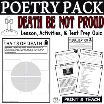 Death Be Not Proud by Donne: CCSS Poetry Test Prep Lesson, Quiz, Activities