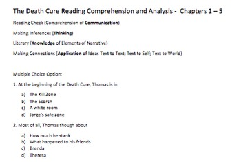 Death Cure Novel Study Chapters 1 5 By High School English Print And Go