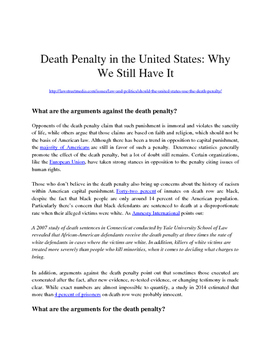 Death Penalty Practice Argument for the NYS Common Core Regents Exam