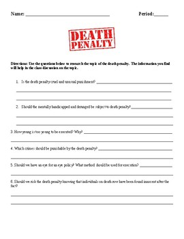 Death Penalty Questions/Assignment Street Law or Government
