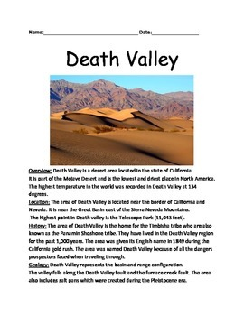 Death Valley - California Lesson Review Article Questions Facts Vocab