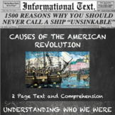 Causes of the American Revolution--Informational Text Worksheet