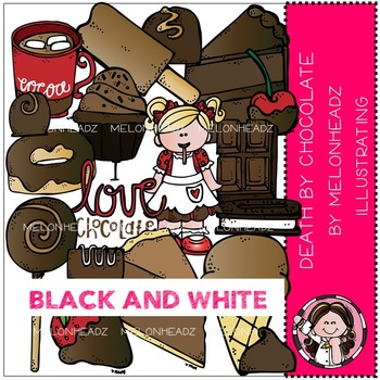 Death by Chocolate clip art - BLACK AND WHITE- by Melonheadz