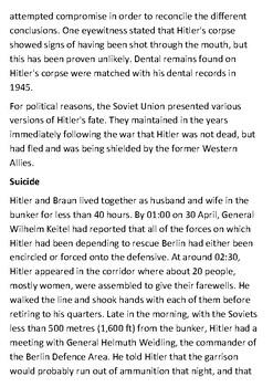 Death of Adolf Hitler Handout