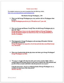 Death of George Washington Primary Source Worksheet