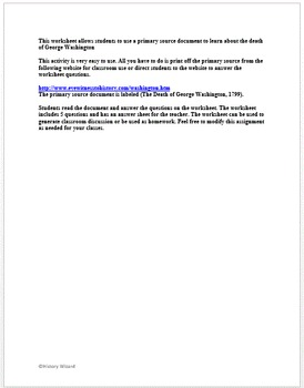 Death of George Washington Primary Source Worksheet