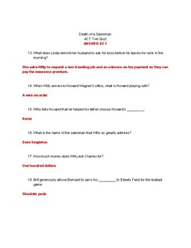 Death of a Salesman ACT II Reading Quiz