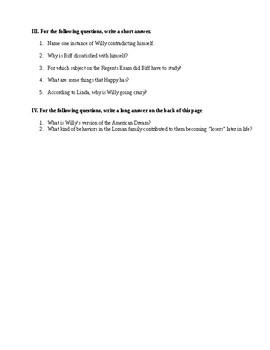 Death of a Salesman Act 1 Quiz