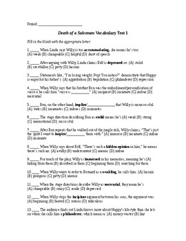 Death of a Salesman Act 1 Vocabulary List and Test with Answer Key