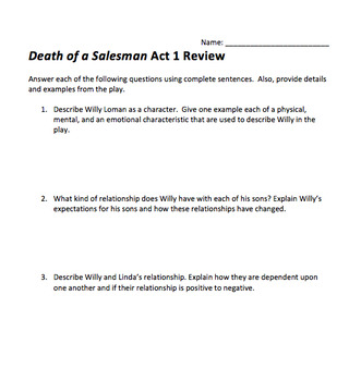 Death of a Salesman Act Reviews and Test