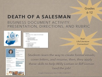 Death of a Salesman Business Document Character Connection Project and Rubric