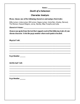 Death of a Salesman Character Analysis Activity - Arthur Miller