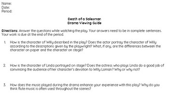Death of a Salesman: Drama Viewing Guide